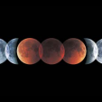 Lunar eclipse, multiple exposure