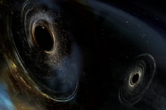 Illustration of black hole merger