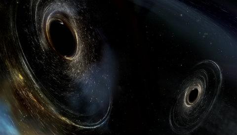 Illustration of black holes merging