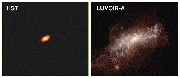 LUVOIR vs Hubble: Distant, low-mass galaxy