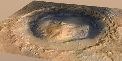 Oblique view of Gale crater on Mars