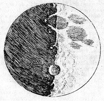 Galileo Galilei published his first telescope observations in The Sidereal (Starry) Messenger in 1610. This is his sketch of a first-quarter moon.