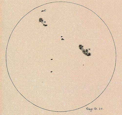 Galileo sunspot drawing