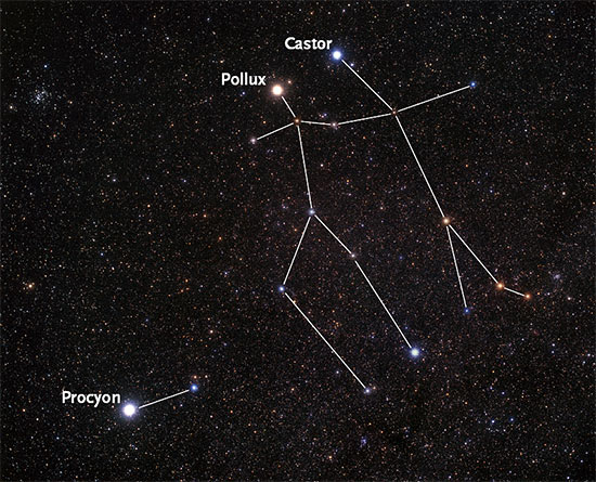 Photo of Gemini with Pollux and Castor and Canis Minor with Procyon