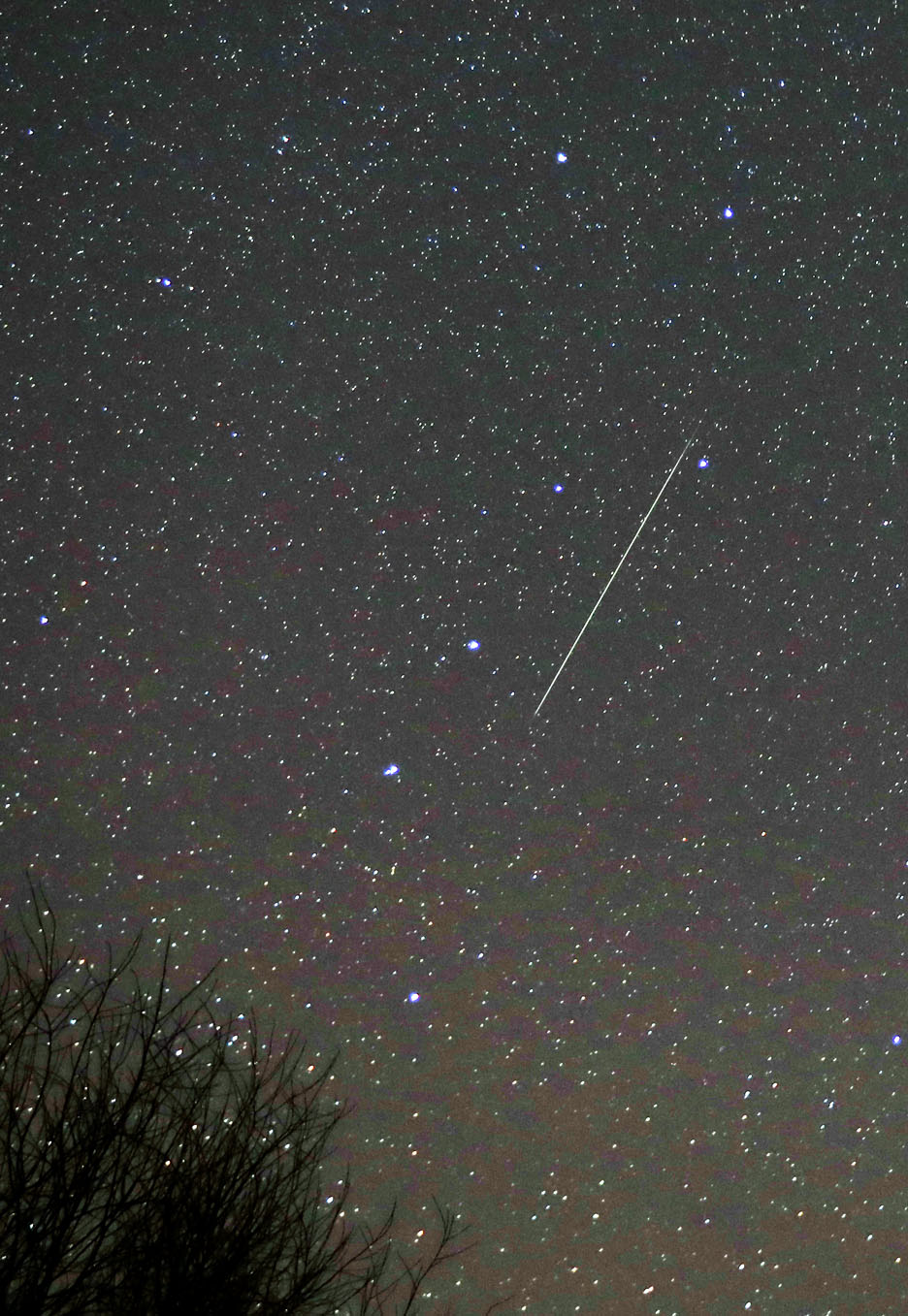 A Geminid meteor during the 2018 shower