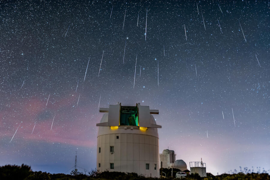 Geminid meteor shower above the Optical Ground Station in Tenerife, Spain