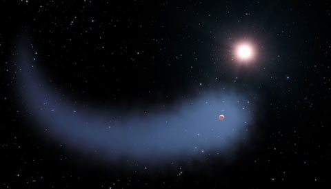 Gliese 436b with a comet-like tail