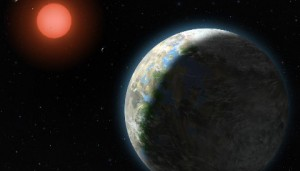 This artist's conception shows the inner four planets of the Gliese 581 system and their host star, a red dwarf star only 20 light years away from Earth. The large planet in the foreground is the newly discovered GJ 581g, which has a 37-day orbit right in the middle of the star's habitable zone and is only three to four times the mass of Earth, with a diameter 1.2 to 1.4 times that of Earth. Lynette Cook