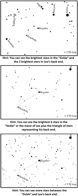 Charts for finding Leo