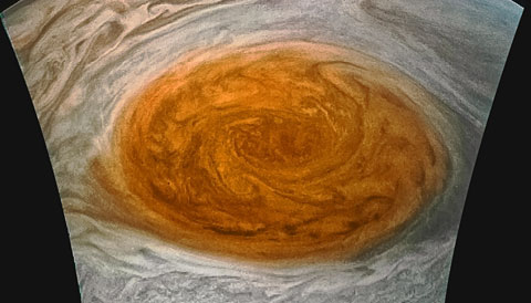 Jupiter's Great Red Spot in enhanced color