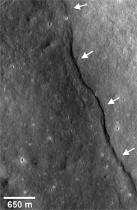 Scarp in Gregory crater