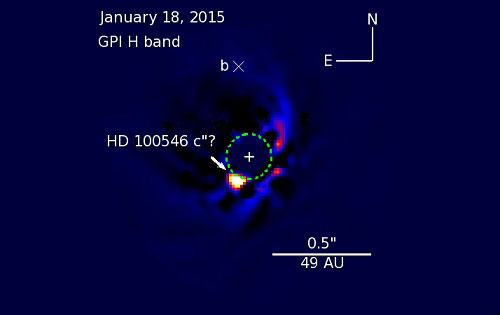 The suspected planet HD 100546c