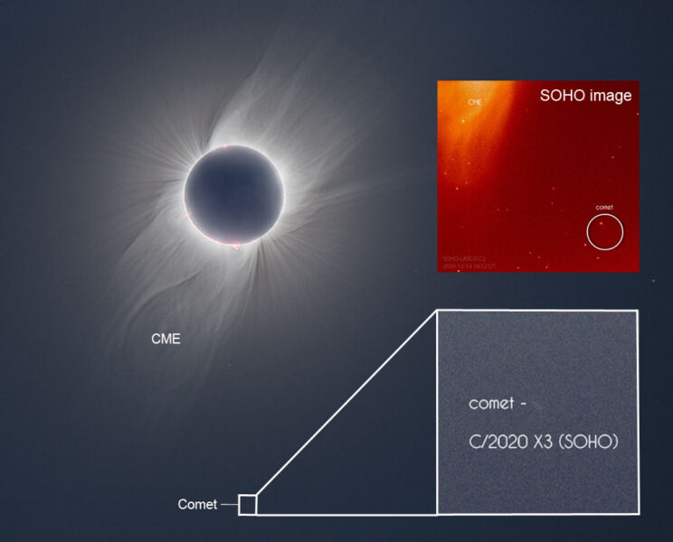 Eclipse photo with CME and Comet