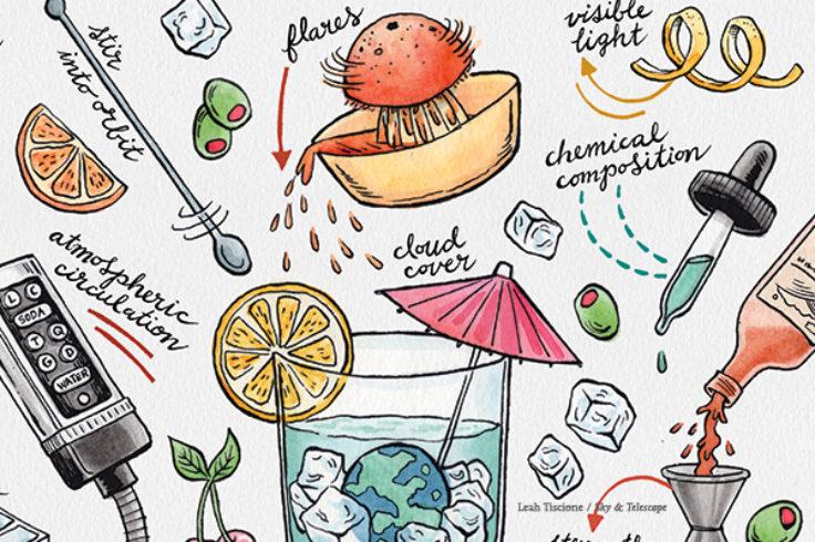 illustration of habitability like a cocktail recipe