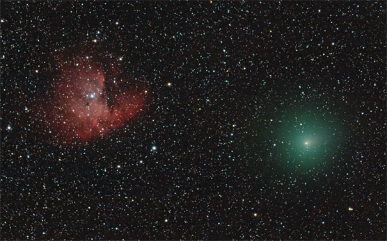 NGC 281 and Comet Hartley 2