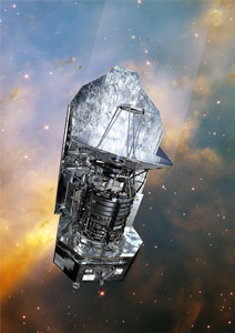 An image showing the Herschel Space Observatory set in front of a picture taken by the Hubble Space Telescope
