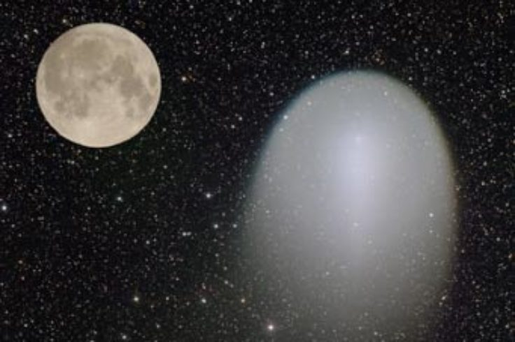 Sizes of Comet Holmes and Moon compared