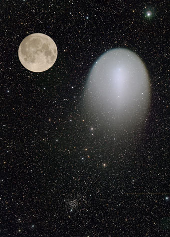 Sizes of Comet Holmes and Moon compared, Dec. 1