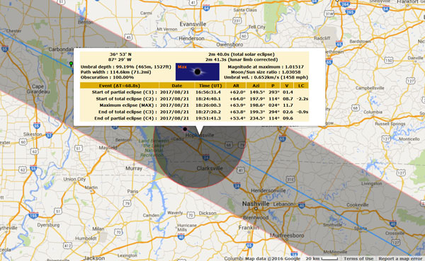Great American Solar Eclipse Tour - Kentucky Circumstances