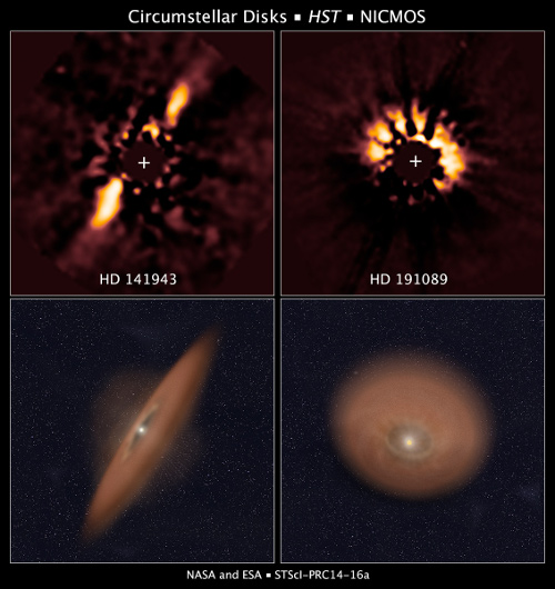 The two images at top reveal debris disks around young stars uncovered in archival images taken by NASA's Hubble Space Telescope. Hubble's Near Infrared Camera and Multi-Object Spectrometer observed the disks in near-infrared light in 2007. Astronomers used a coronagraph to block out the bright light from each star so they could analyze the faint, reflected light off dust particles in the disks. The illustration beneath each image depicts the orientation of the debris disks. Astronomers retrieved these images from the Barbara A. Mikulski Archive for Space Telescopes (MAST) and used more powerful image analysis techniques to search for planetary systems. NASA / ESA / R. Soummer and A. Feild (STScI)