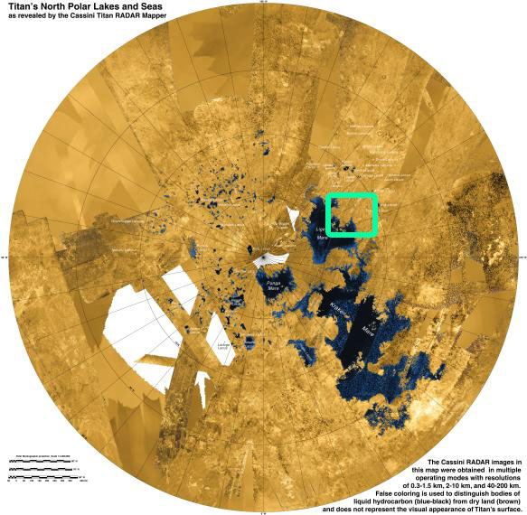 lakes on Titan's north pole