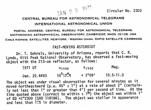 IAU Circular 2303, dated Jan. 26, 1971, announcing the Lynds mystery object.