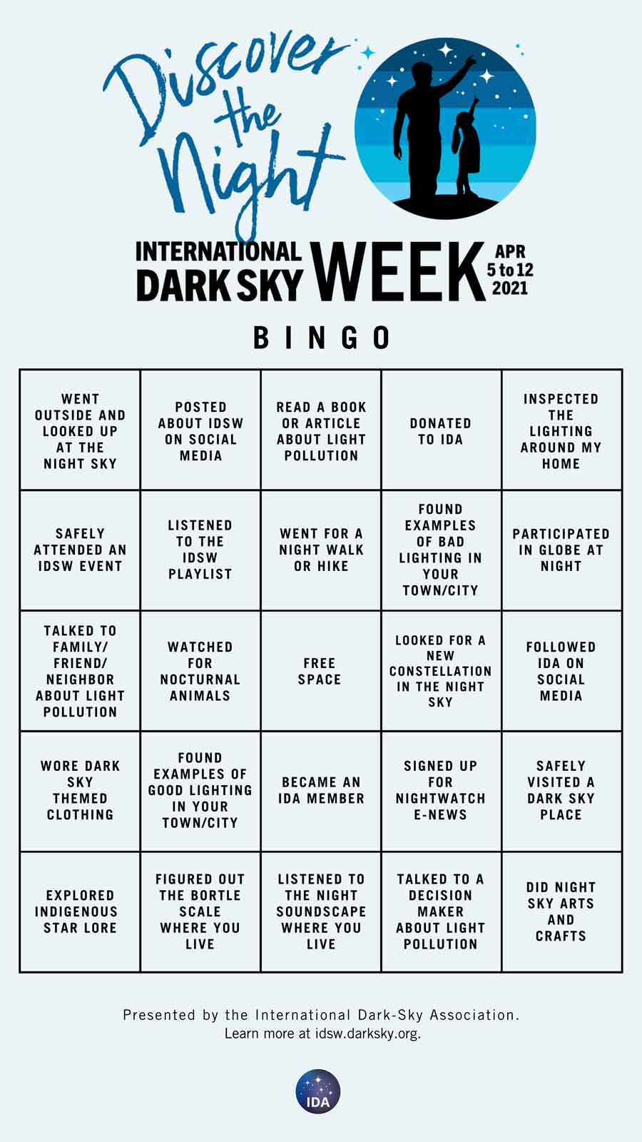 Dark-Sky Week Bingo Card