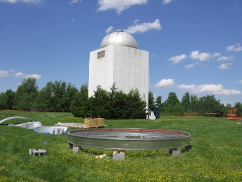 Dome installed on tower at Turner Farm