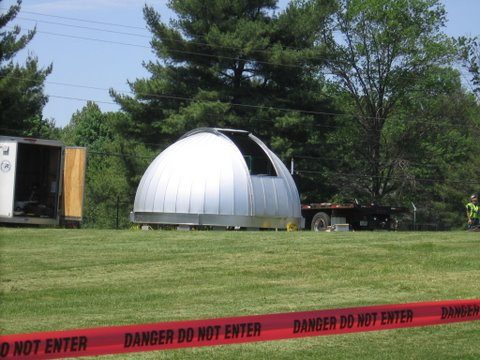 Dome resting on grass, Turner Farm