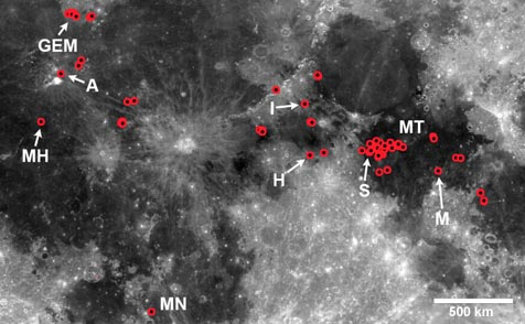 IMP location map on the Moon