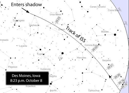 ISS slips into shadow over Iowa