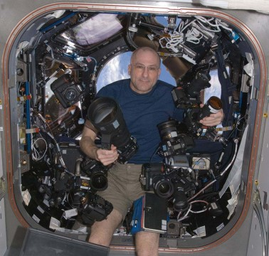 ISS astronaut Don Pettit and cameras