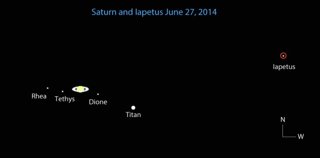 Saturn viewed in a small telescope on June 27, 2014.