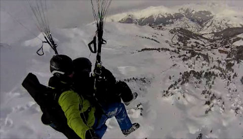 Paragliding above the French Alps