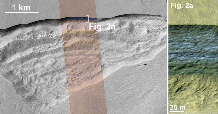 Ice cliff on Mars with close-up