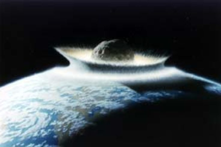 Depiction of a cataclysmic meteorite impact