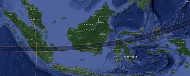 Solar eclipse's path across Indonesia