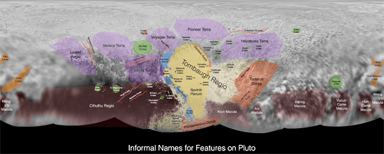 Informal names on Pluto