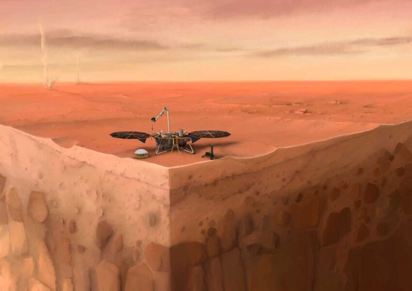 Illustration of Insight on Mars, with cutaway showing subsurface