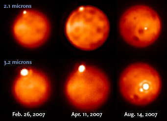 Eruptions on Io seen from Earth