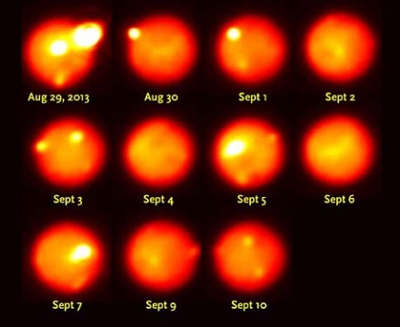Near-infrared views of Io, recorded with adaptive optics at the Gemini North telescope, track the evolution of a very powerful volcanic eruption that began August 29, 2013. Due to Io's rapid rotation, each night shows a different area of the surface. The outburst waned in brightness on August 30th and September 1st, 3rd, and 10th.Katherine de Kleer / UC Berkeley / Gemini Observatory / AURA