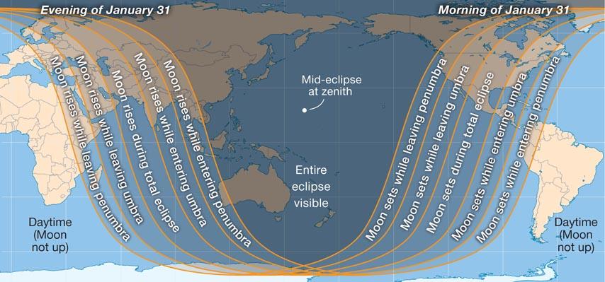 Jan 2018 Lunar Eclipse World Map