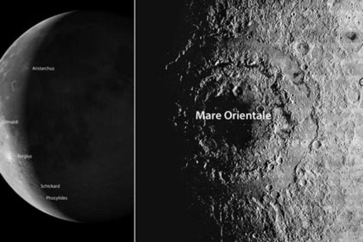 A bullseye basin, volcanic domes and lava-flooded crater highlight Friday morning's crescent Moon