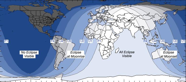 July 2018 Lunar Eclipse World Map