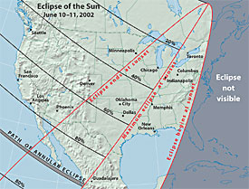 North America during June 10 eclipse