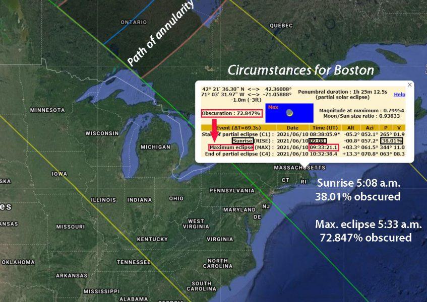 Boston eclipse particulars