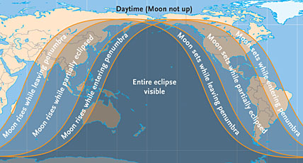 Visibility of June 26th's lunar eclipse