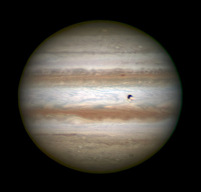 Jupiter, Io, and its shadow on Feb. 5, 2015, one day before opposition
