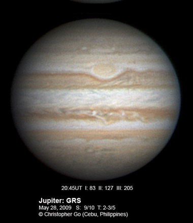 Jupiter with pale Great Red Spot