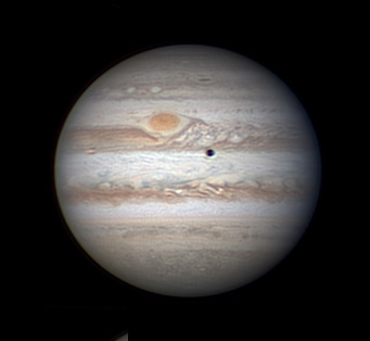 Jupiter with Red Spot and Io shadow transit
